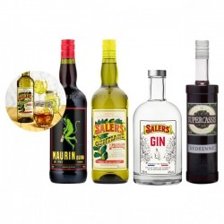 Pack Cocktail Negroni - 1 Salers 16 % 100 cl + 1 Maurin litre + 1 Gin Salers 70 cl et 1 Supercassis 70 cl 20 %