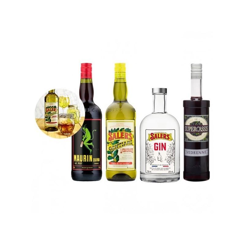 Pack Cocktail Negroni - 1 Salers 16 % 100 cl + 1 Maurin litre + 1 Gin Salers 70 cl et 1 Supercassis 70 cl 20 % Vedrenne - 1